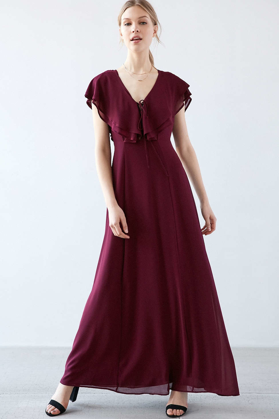 Lace flutter sleeve dress