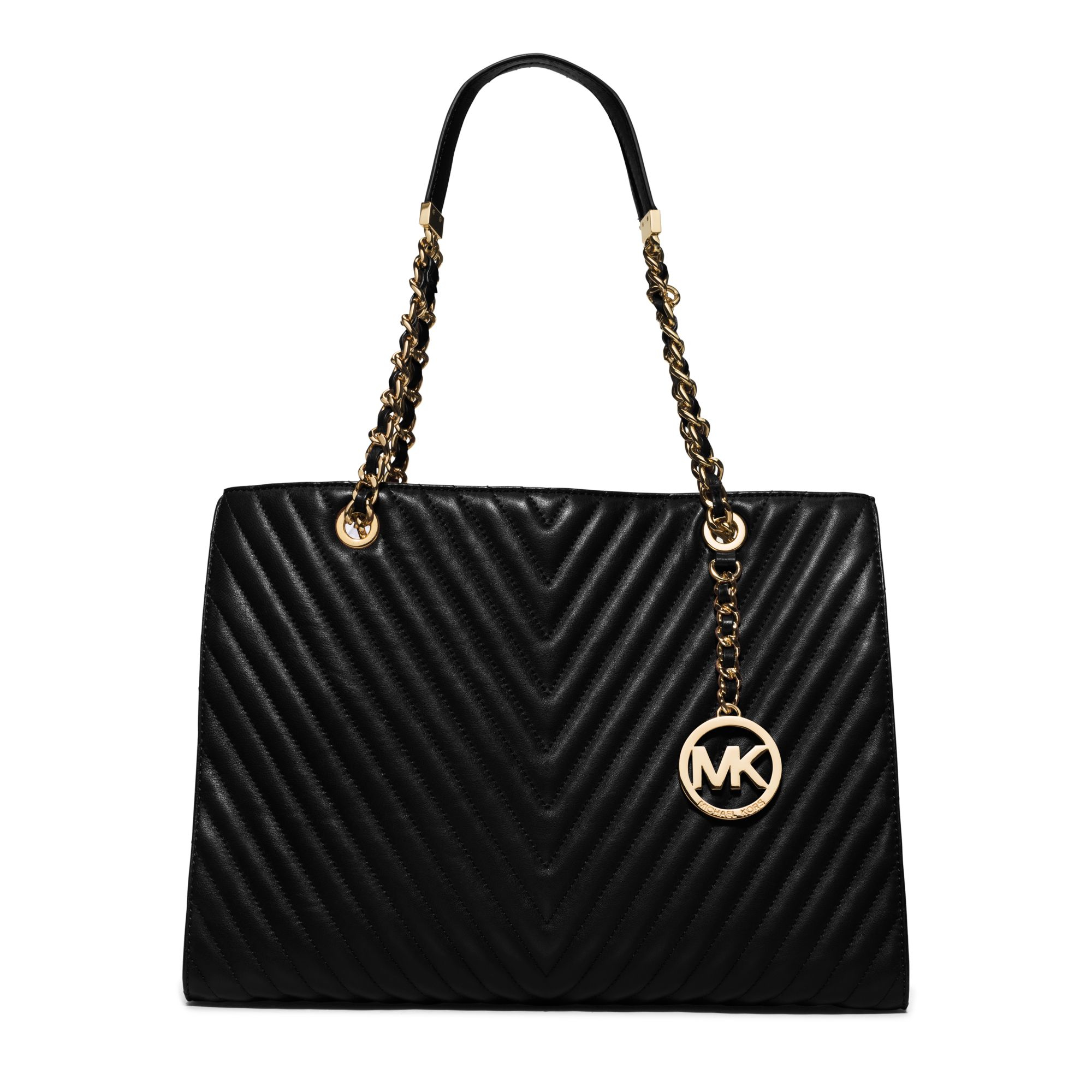 Michael kors Susannah Large Chevron-quilted Leather Tote in Black ...