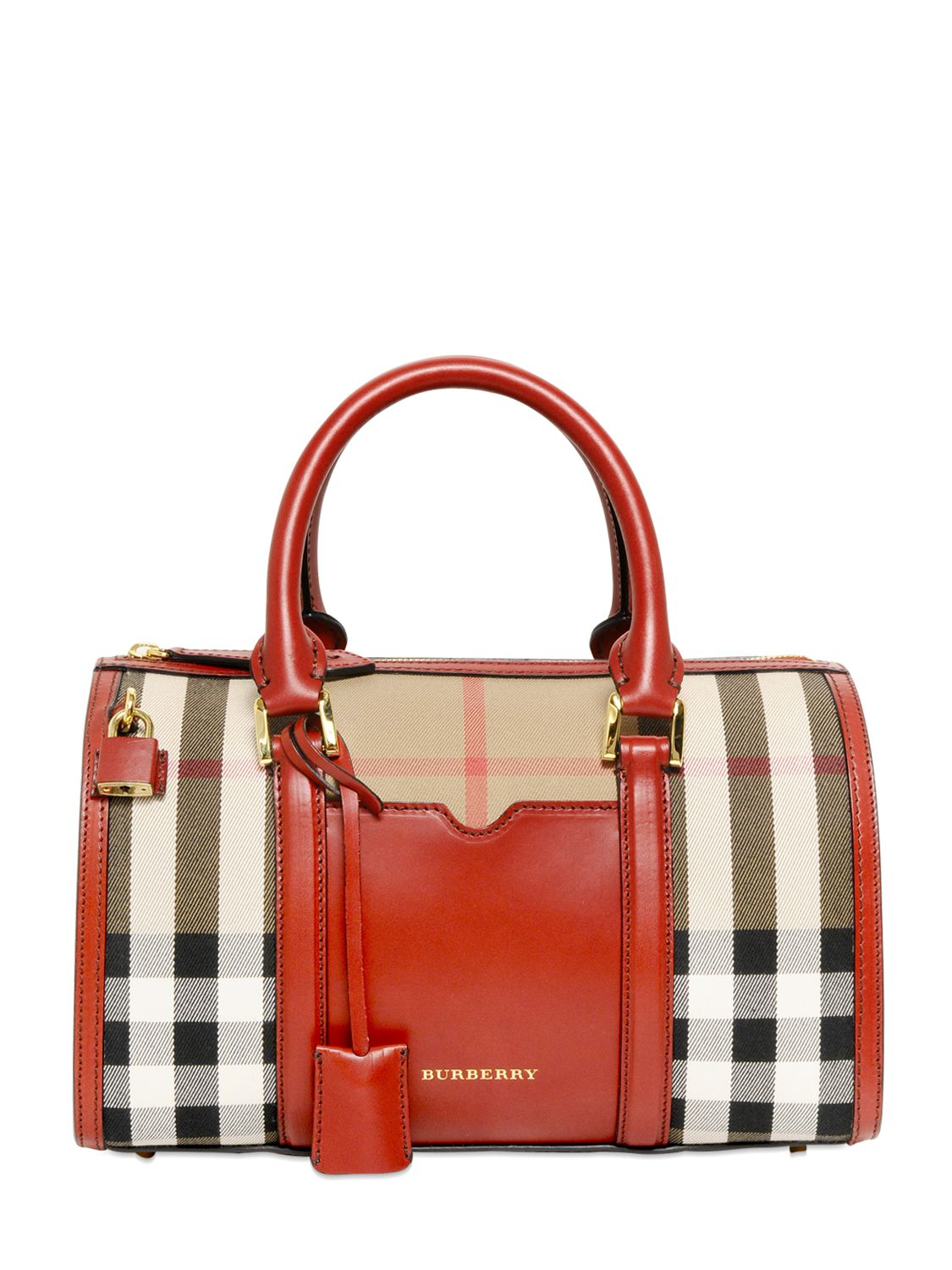 e7232880b7c Burberry Medium Alchester Bridle House Check Bag in Red - Lyst