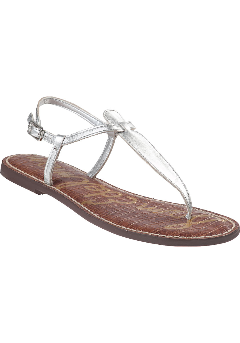 Sam edelman Gigi Flat Sandal Silver Leather in Silver ...
