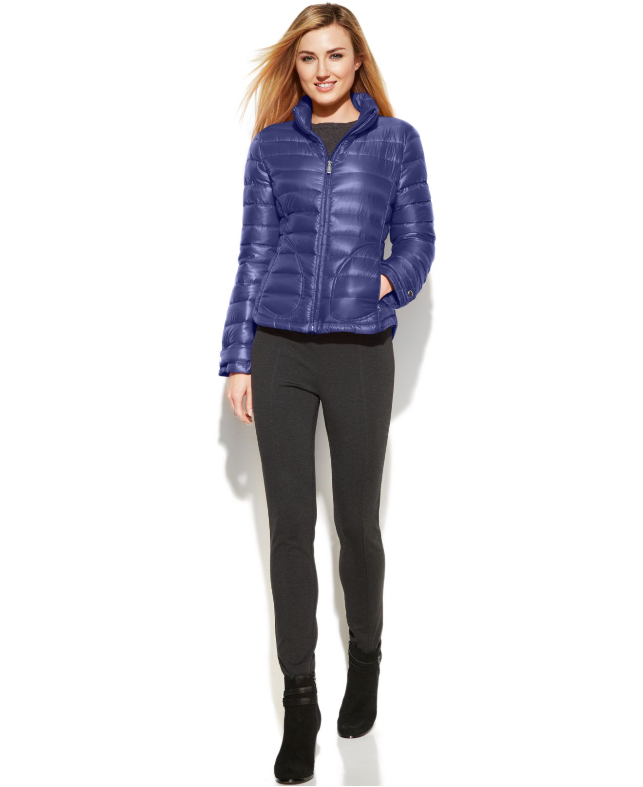 Lyst Calvin Klein Quilted Packable Down Puffer Coat In Blue
