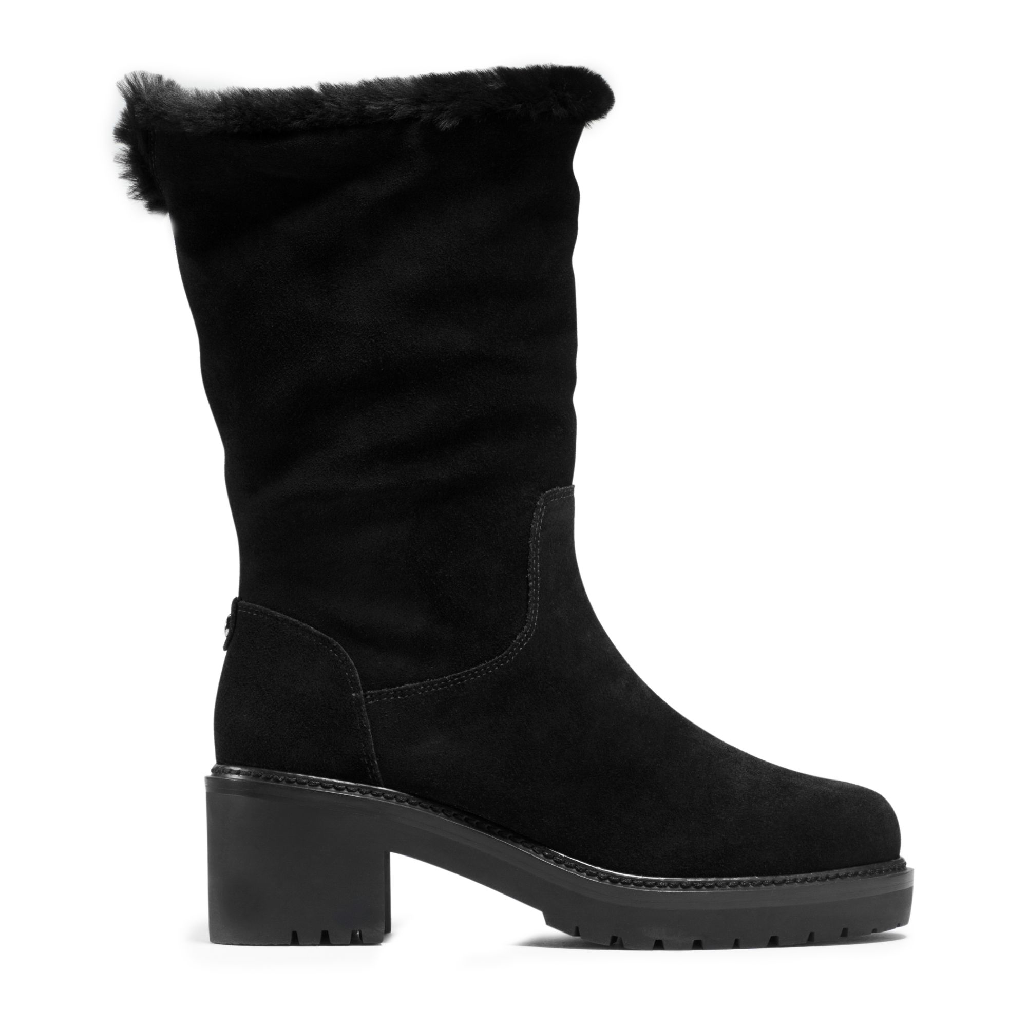 michael kors whitaker shearling lined suede boot in black