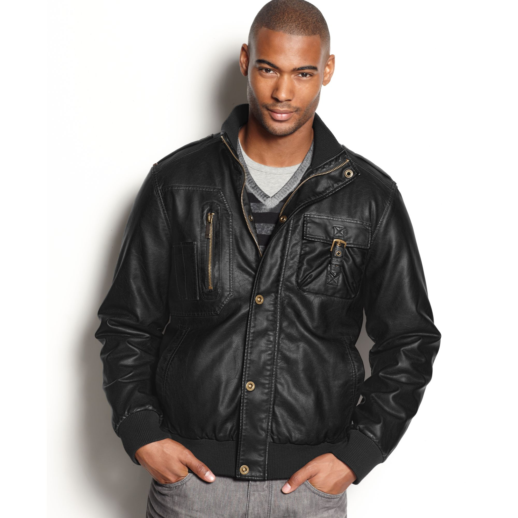 Sean john faux leather bomber jacket