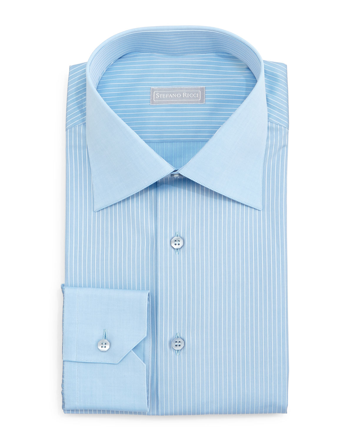 stefano ricci contrast collar striped dress shirt in blue