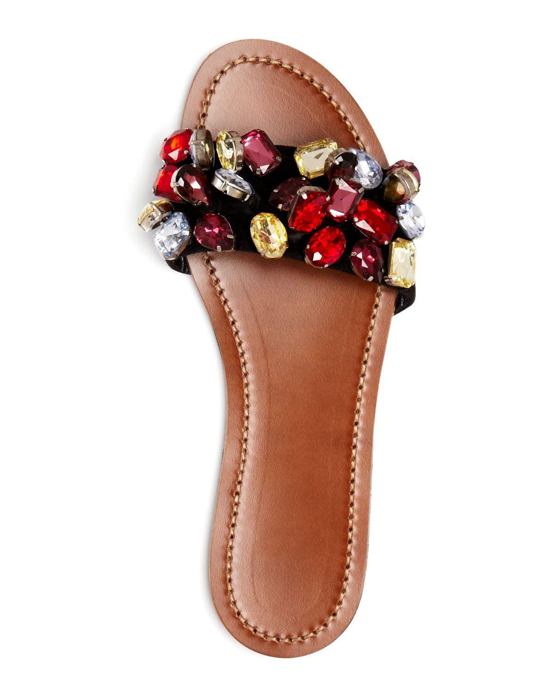 Lyst N 176 21 Flat Slide Sandals Jeweled