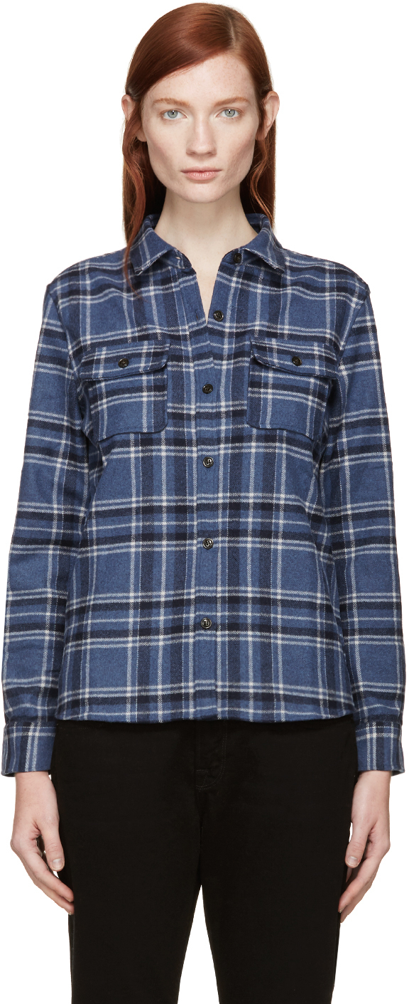 A p c blue check wool flannel girl shirt in blue lyst for Girl in flannel shirt