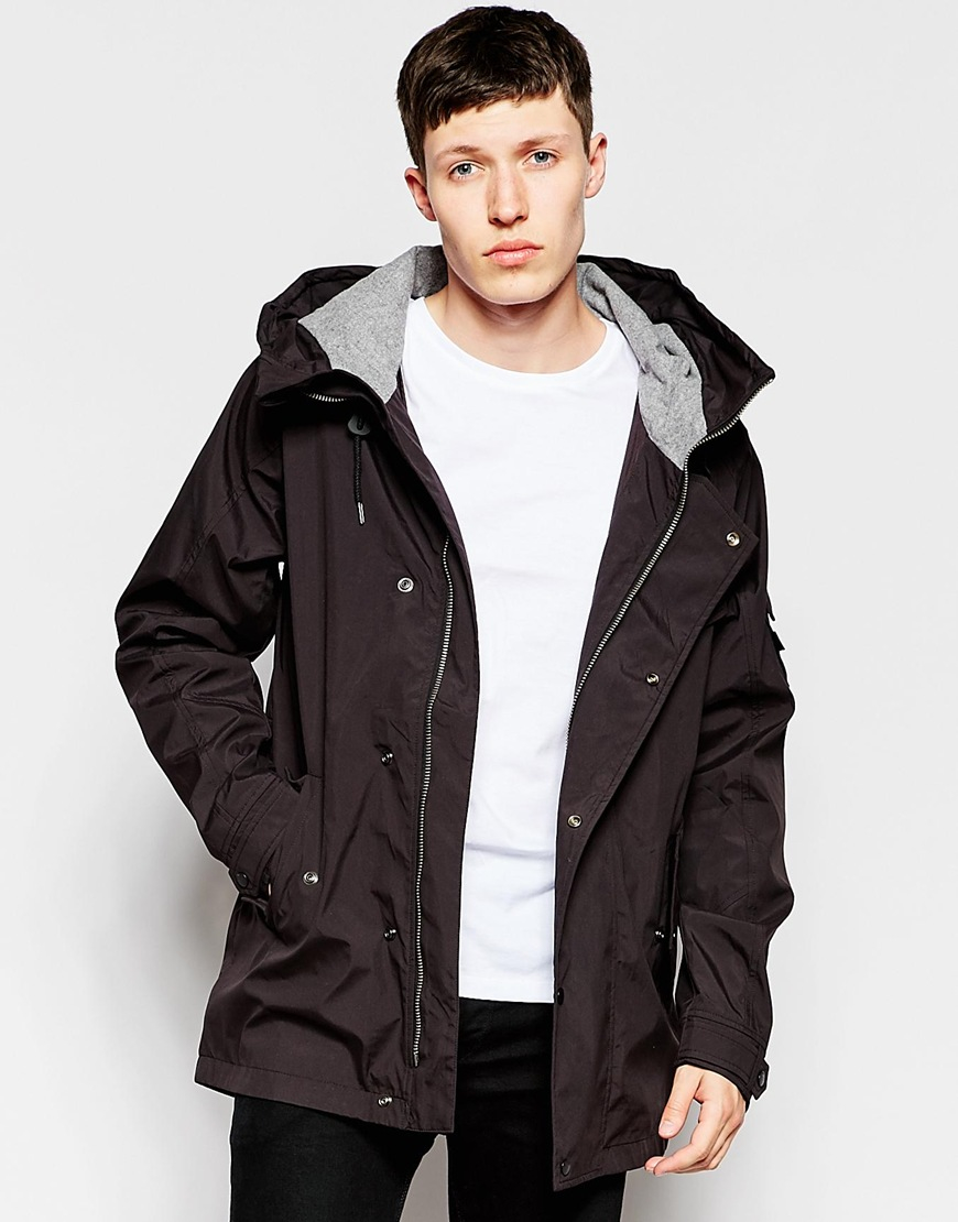 Lyst bellfield hooded jacket with flannel lined hood in for Men s hooded flannel shirt jacket