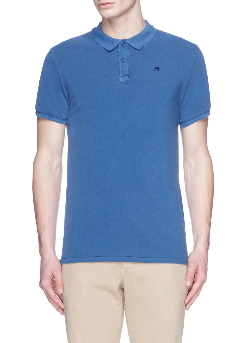 Scotch soda logo embroidery cotton polo shirt in blue for Cotton polo shirts with logo