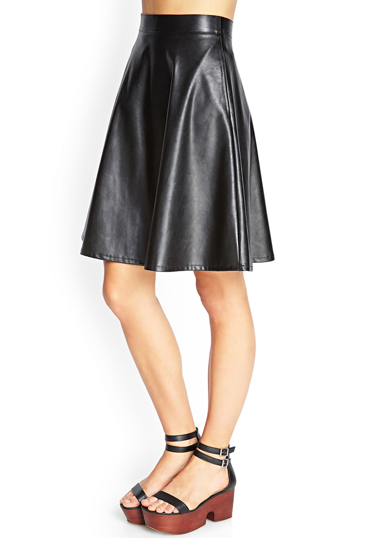 Forever 21 Faux Leather A-line Skirt in Black | Lyst
