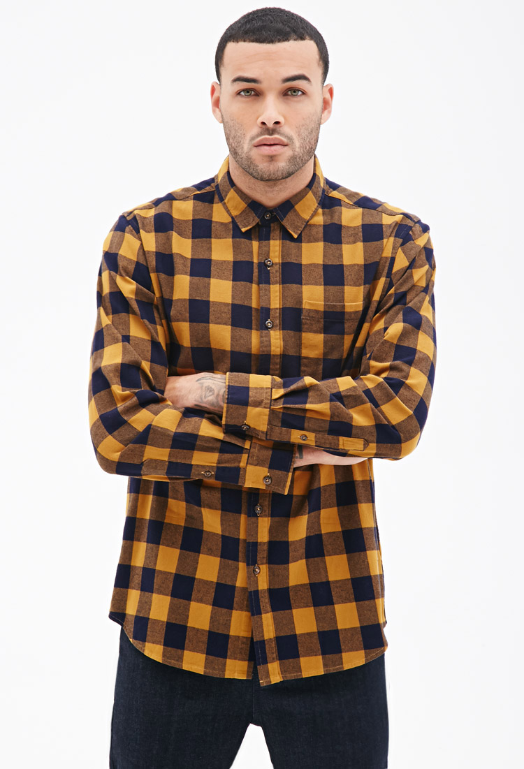 Forever 21 Buffalo Check Flannel Shirt In Yellow For Men