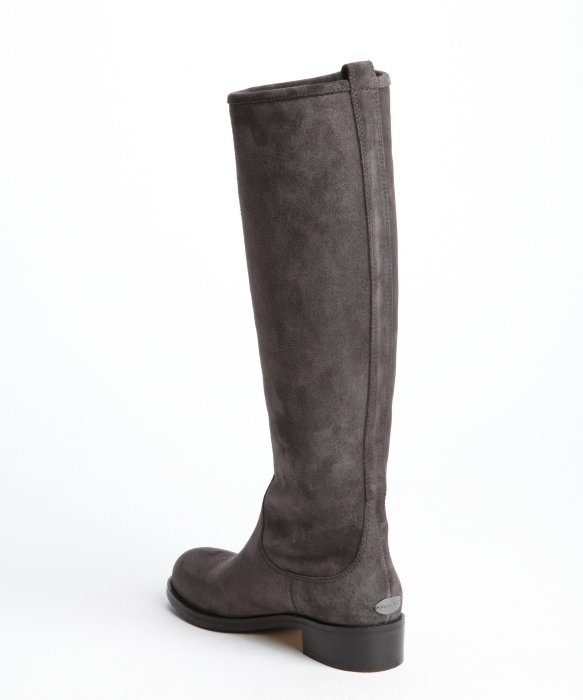 Jimmy choo Smoke Suede Zipper Detail Tall Boots in Gray | Lyst