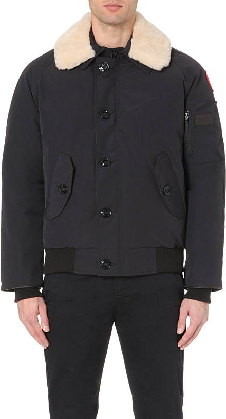 canada goose foxe bomber jacket with shearling collar