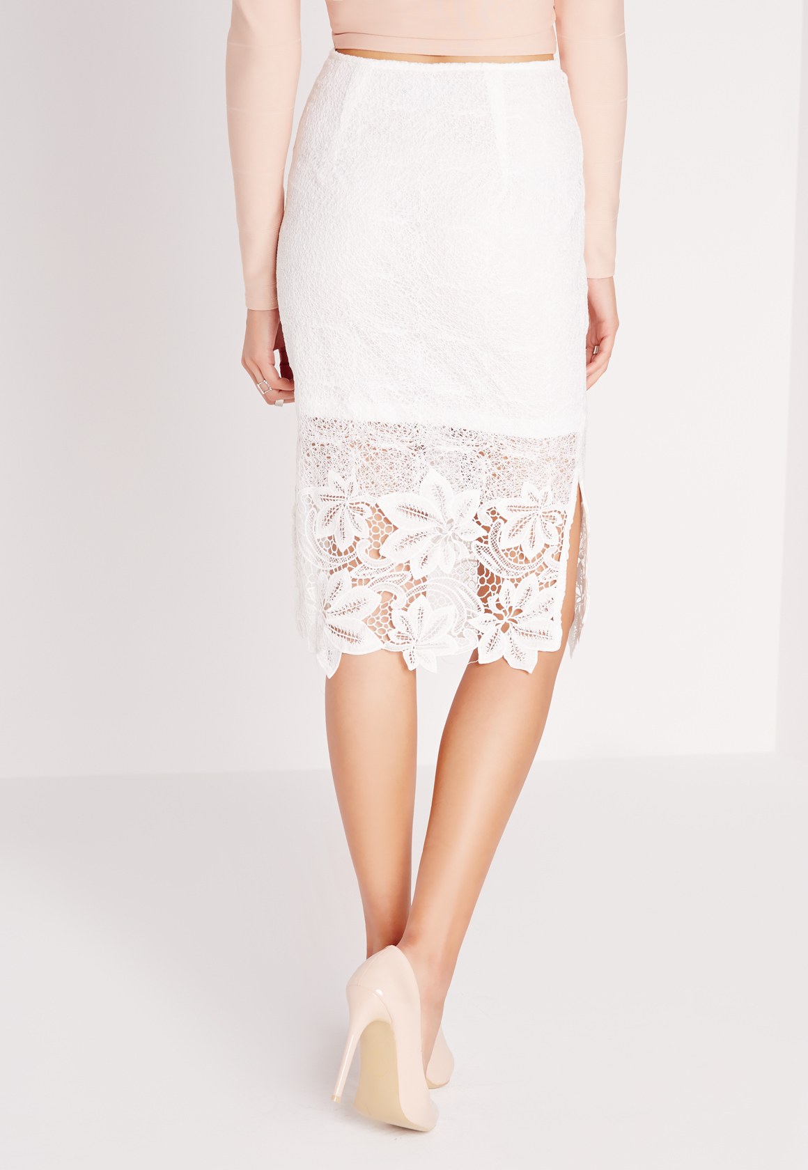 missguided lace detail midi skirt white in white lyst