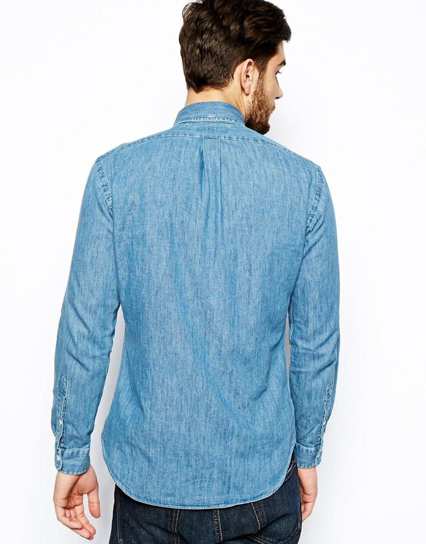 0bf841e40 Polo Ralph Lauren Shirt in Dark Wash Denim Slim Fit in Blue for Men ...