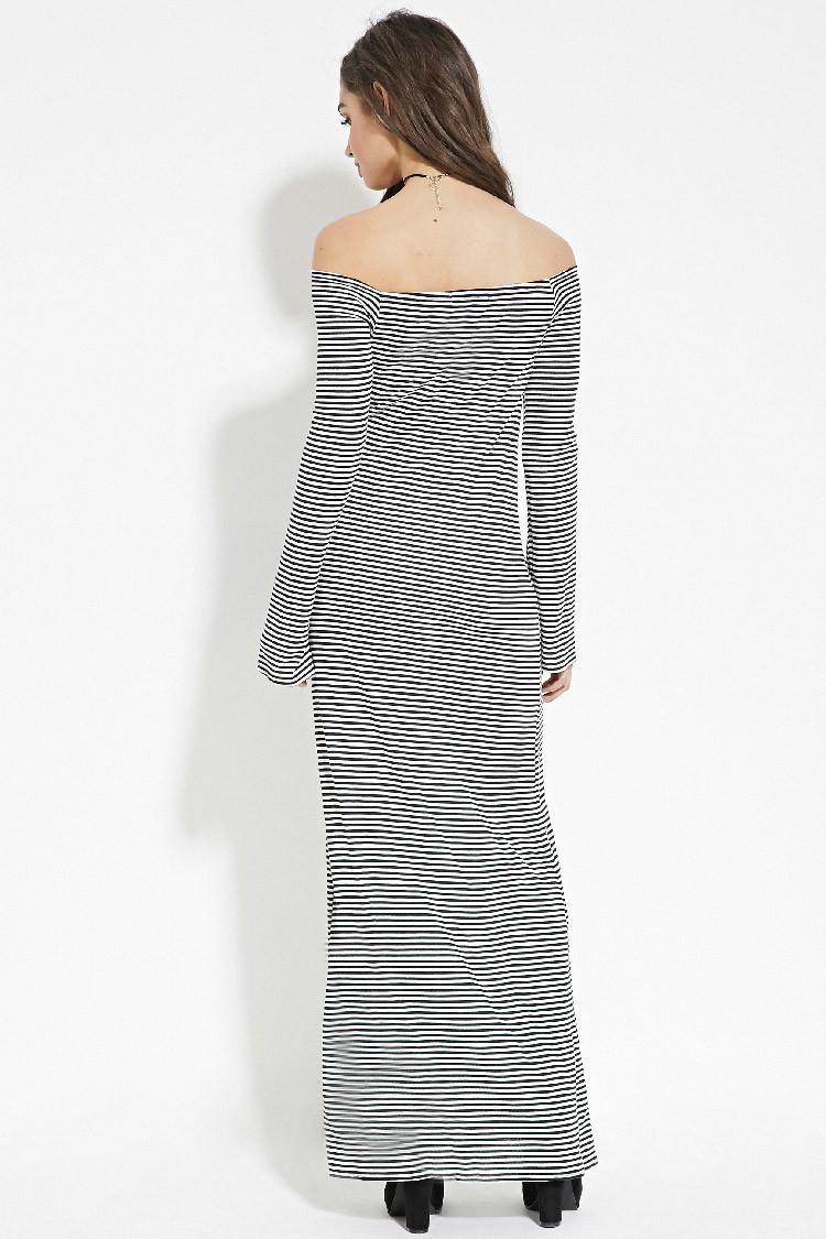 forever 21 stripe offtheshoulder dress in black lyst