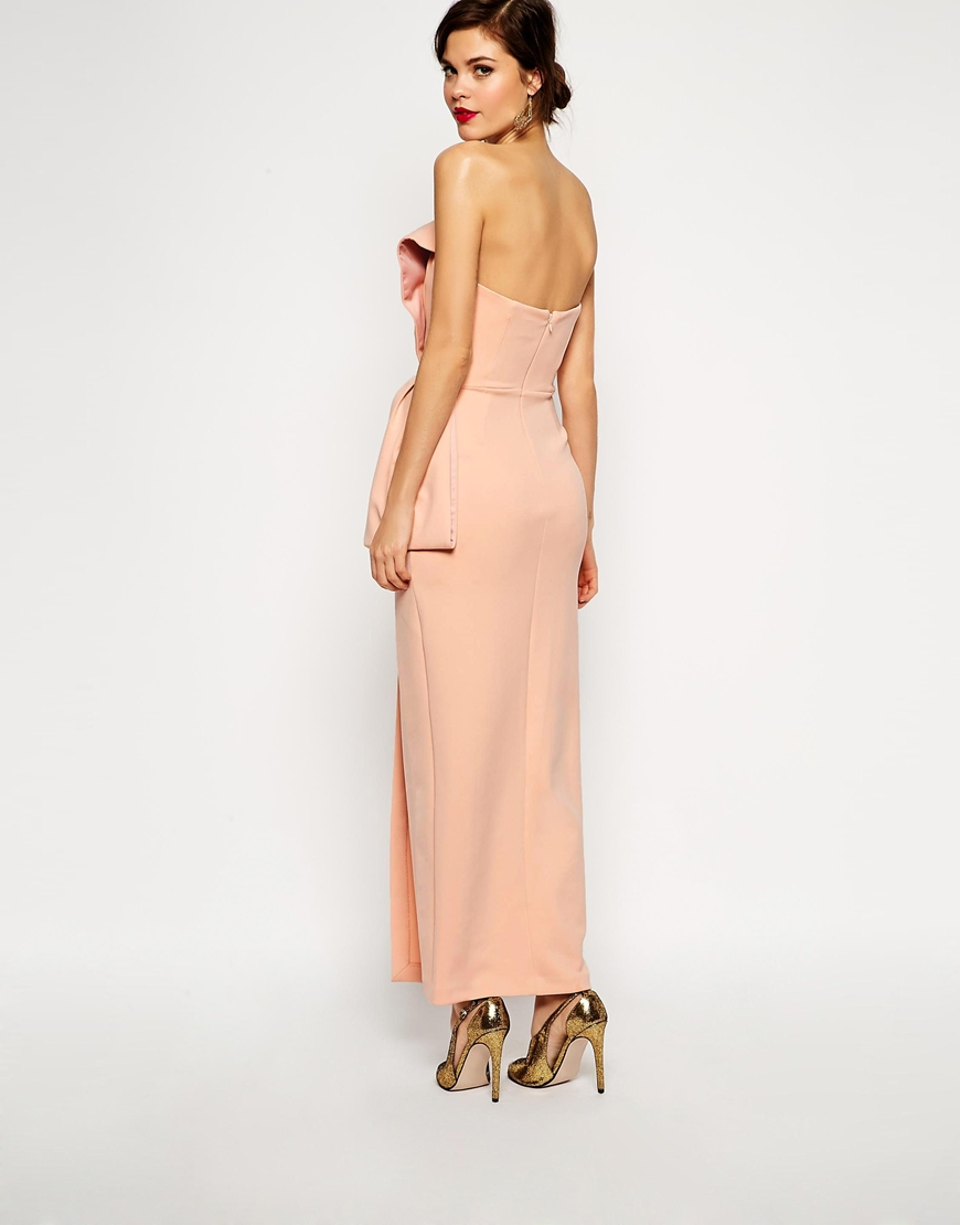 Asos Red Carpet Origami Bow Maxi Dress In Natural Lyst