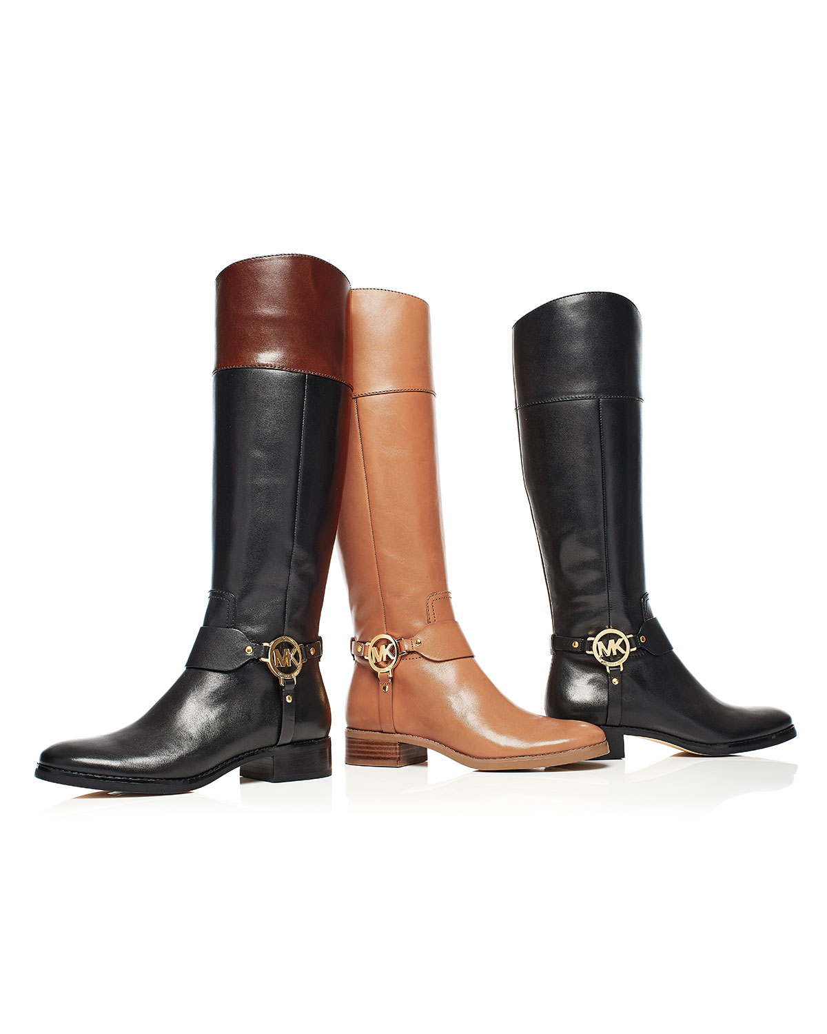 522d59fab7c85 ... Michael michael kors Fulton Harness Leather Riding Boots in ...