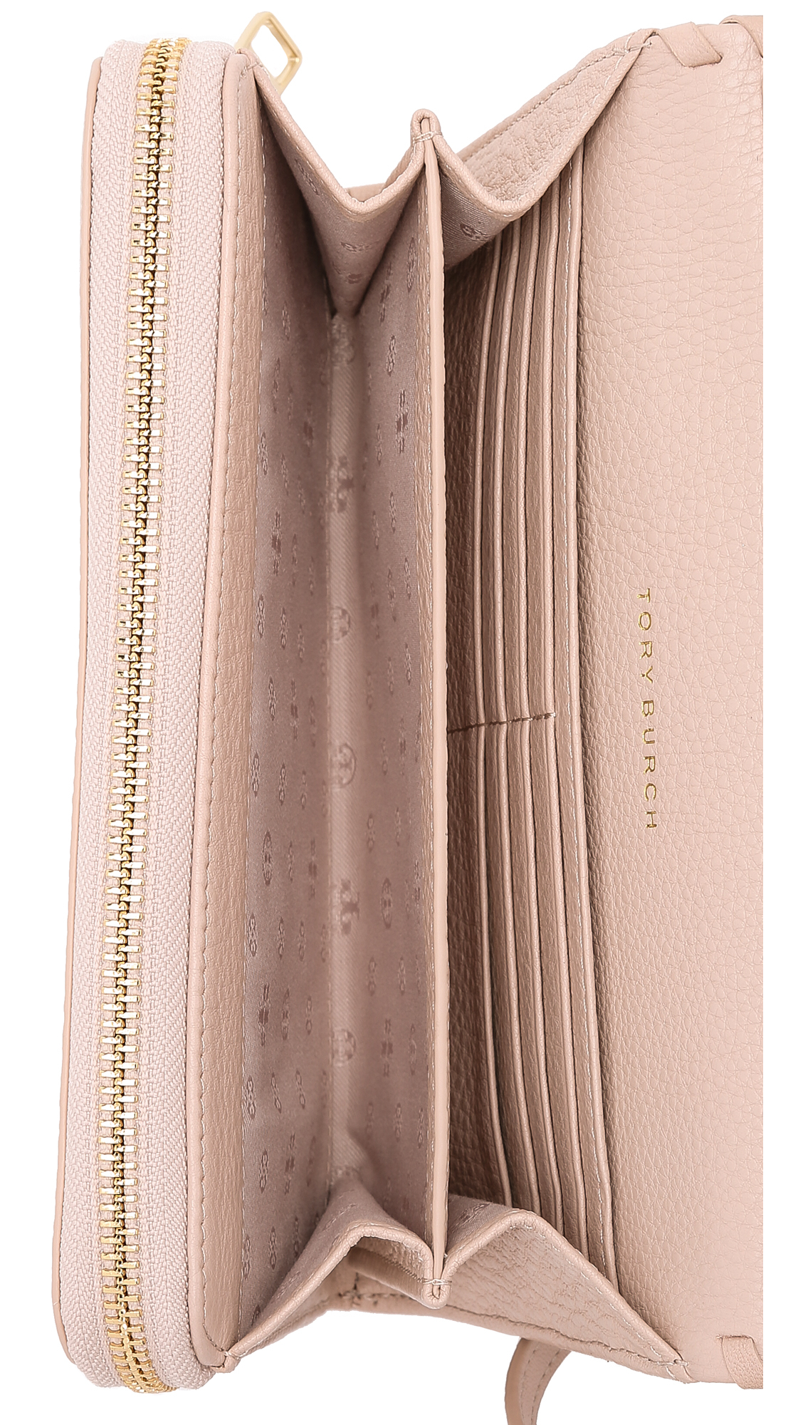 48347275b22e Lyst - Tory Burch Marion Flat Wallet Cross Body Bag - Bark in Natural