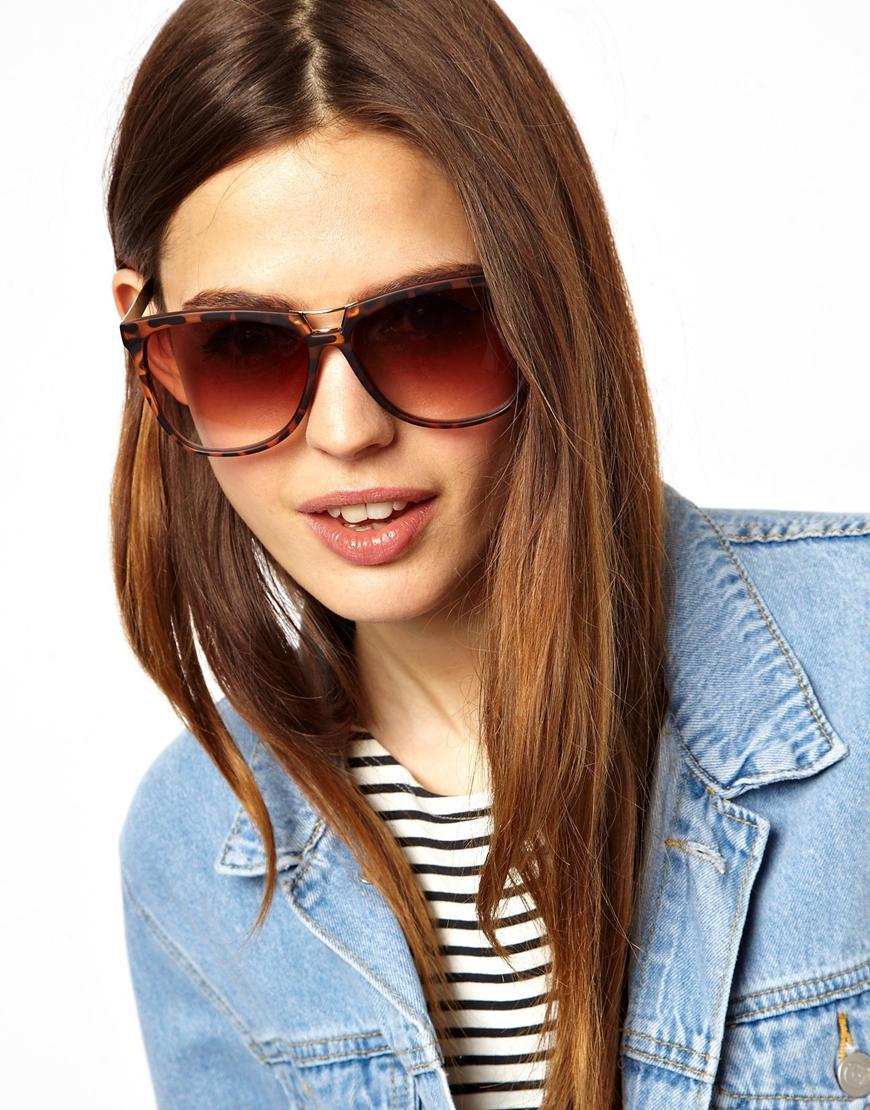 Metal Cat Eye Sunglasses  asos bridge detail cat eye sunglasses with metal arms lyst