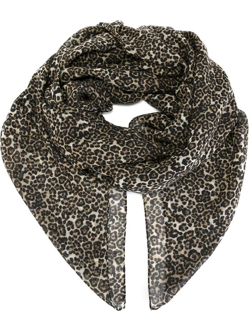 laurent leopard print scarf in black lyst
