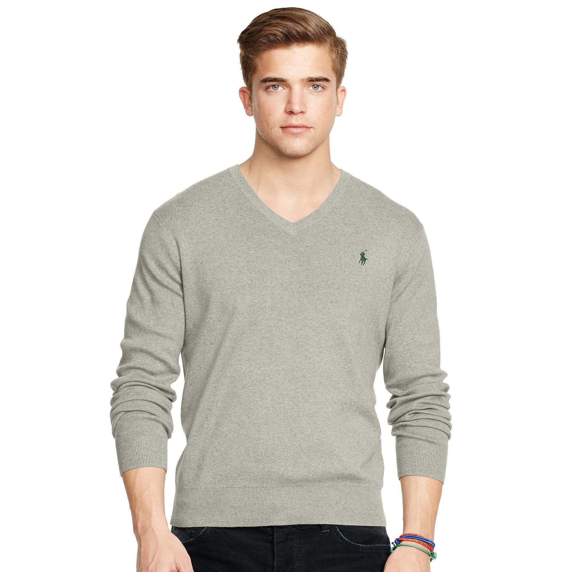 Lyst - Polo Ralph Lauren Pima Cotton V-neck Sweater in Gray for Men 1769b22514