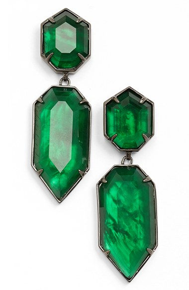 Kendra Scott Perla Drop Earrings Gunmetal Emerald