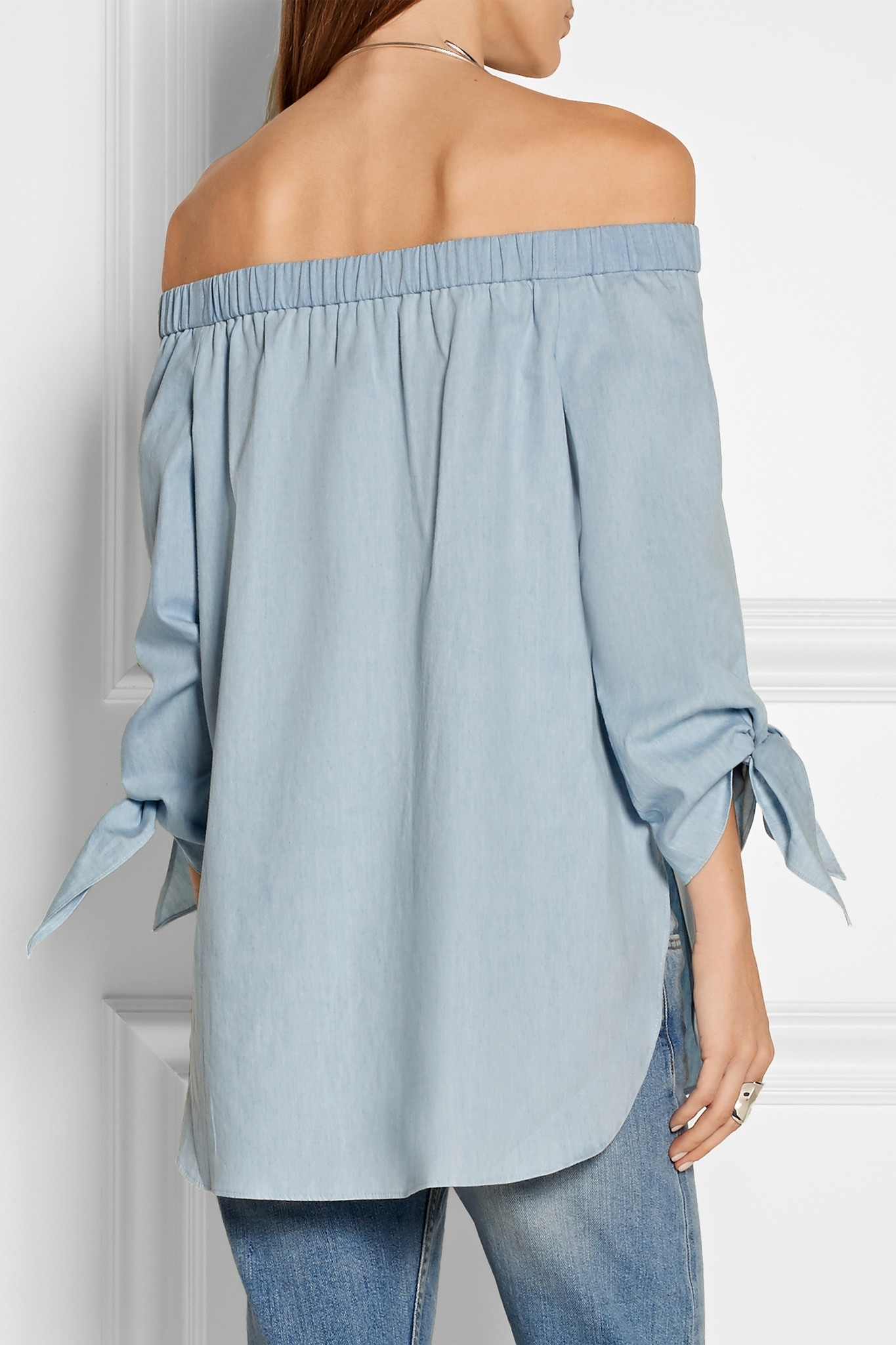 Tibi off the shoulder cotton chambray top in blue lyst for Chambray top