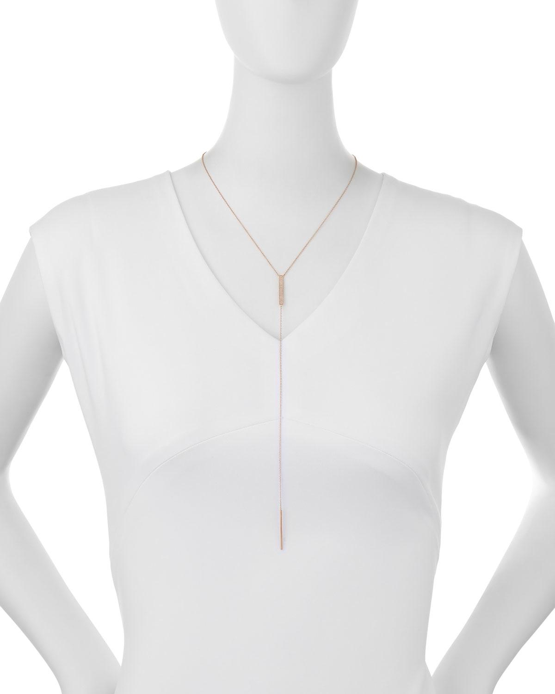 EF Collection Jumbo Bar Diamond Lariat Necklace, Rose Gold