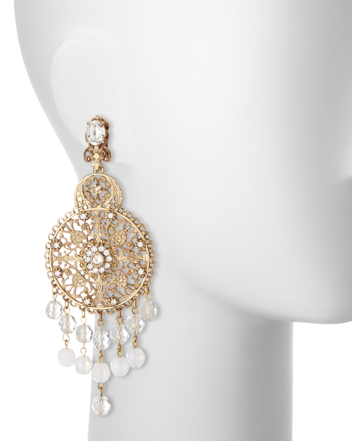 Oscar de la renta Filigree Disc Drop Chandelier Earrings in ...
