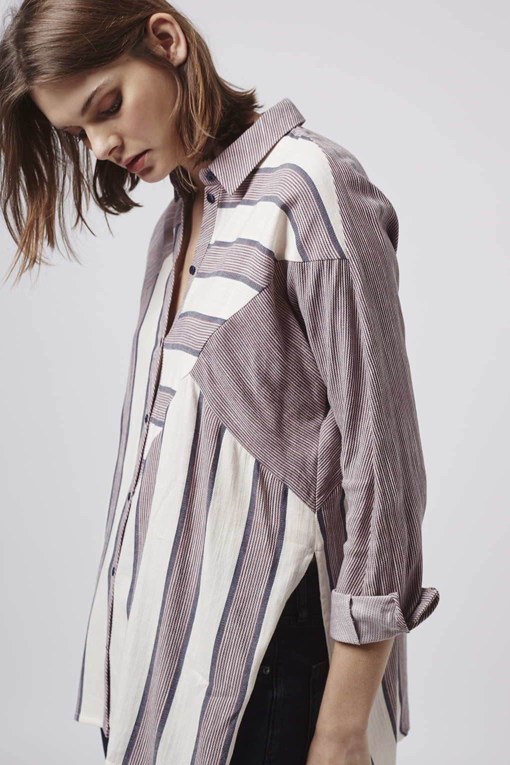 efb4e0d328 TOPSHOP Casual Mix Stripe Shirt in Gray - Lyst