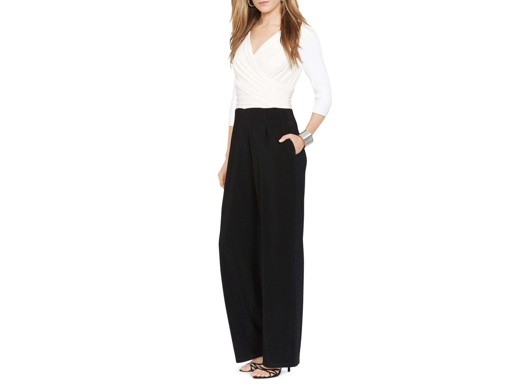 4e2109ea058c Lyst - Ralph Lauren Lauren Jumpsuit - Color Block in Black