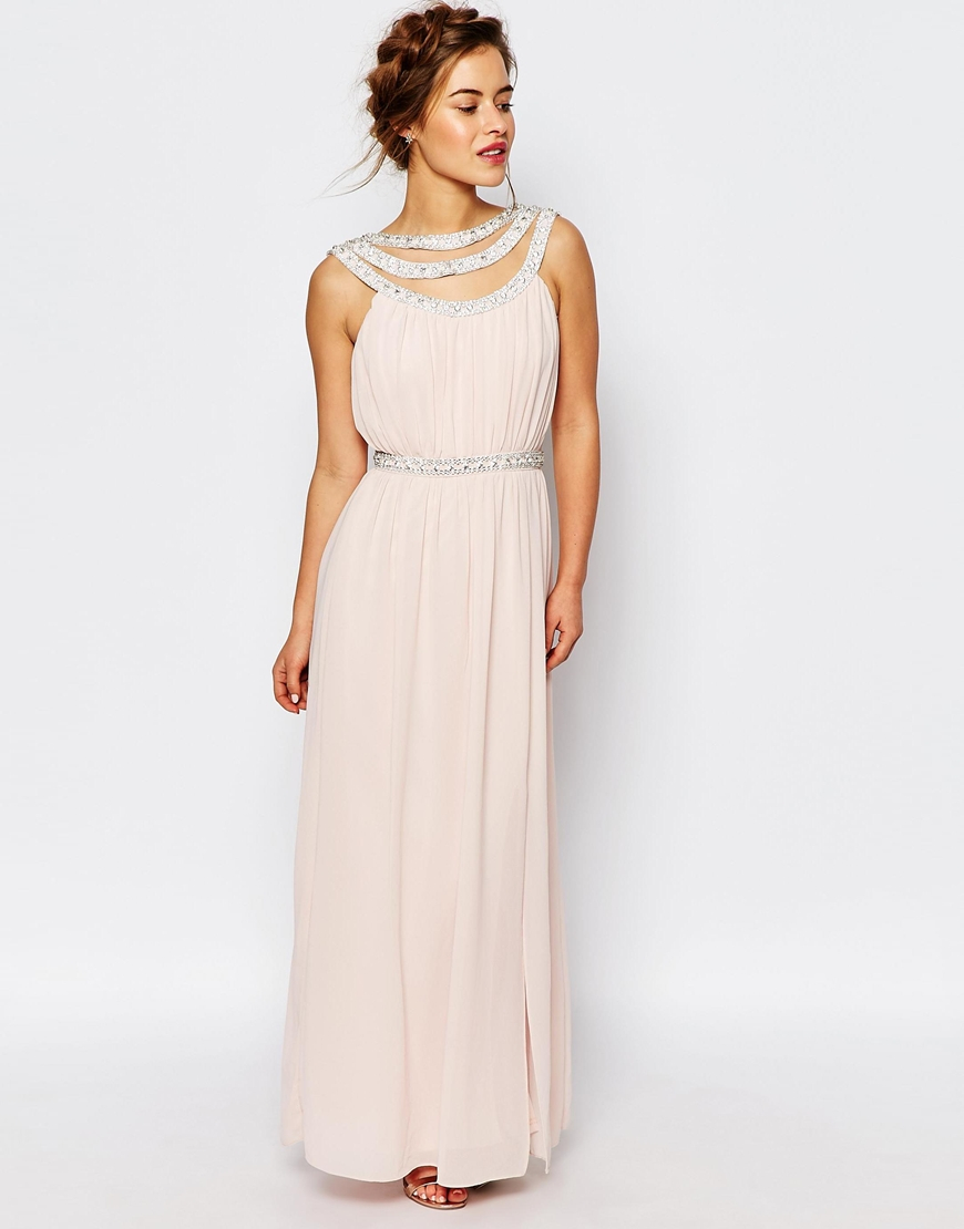 Tfnc london wedding embellished maxi dress in white peach for Maxi dress for a wedding