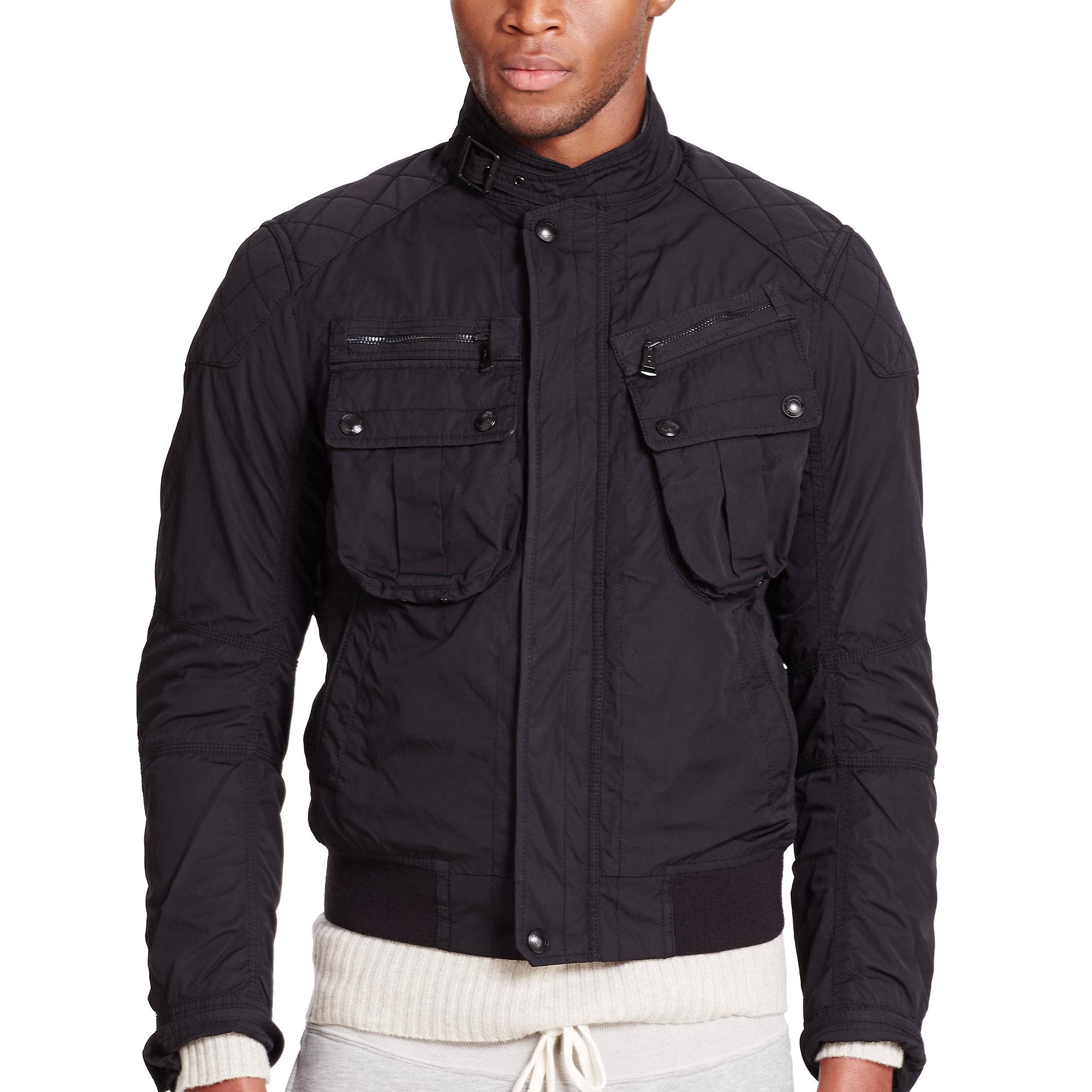 polo ralph lauren moto inspired bomber jacket in black for. Black Bedroom Furniture Sets. Home Design Ideas