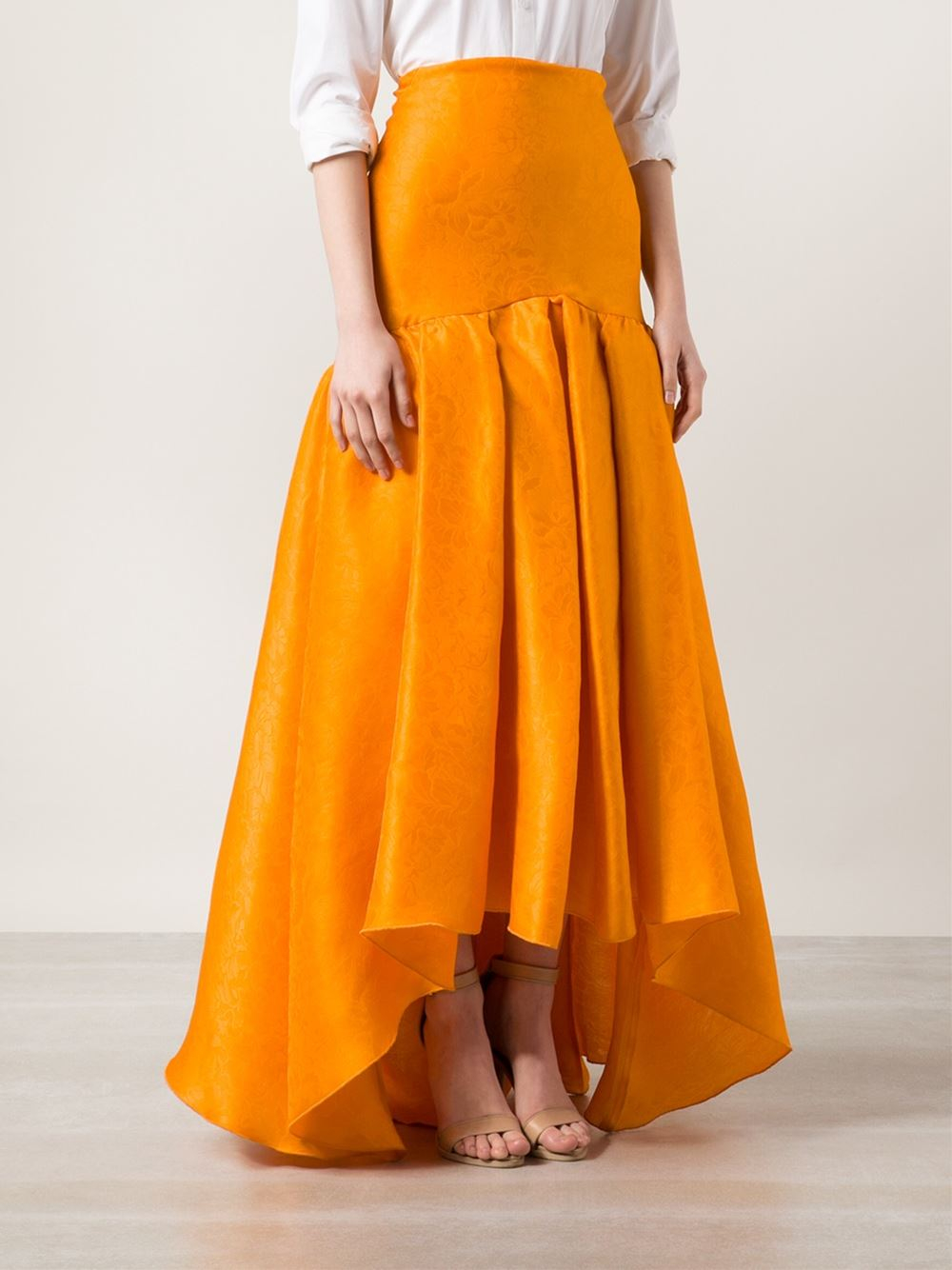 rosie assoulin pleated high low skirt in yellow yellow