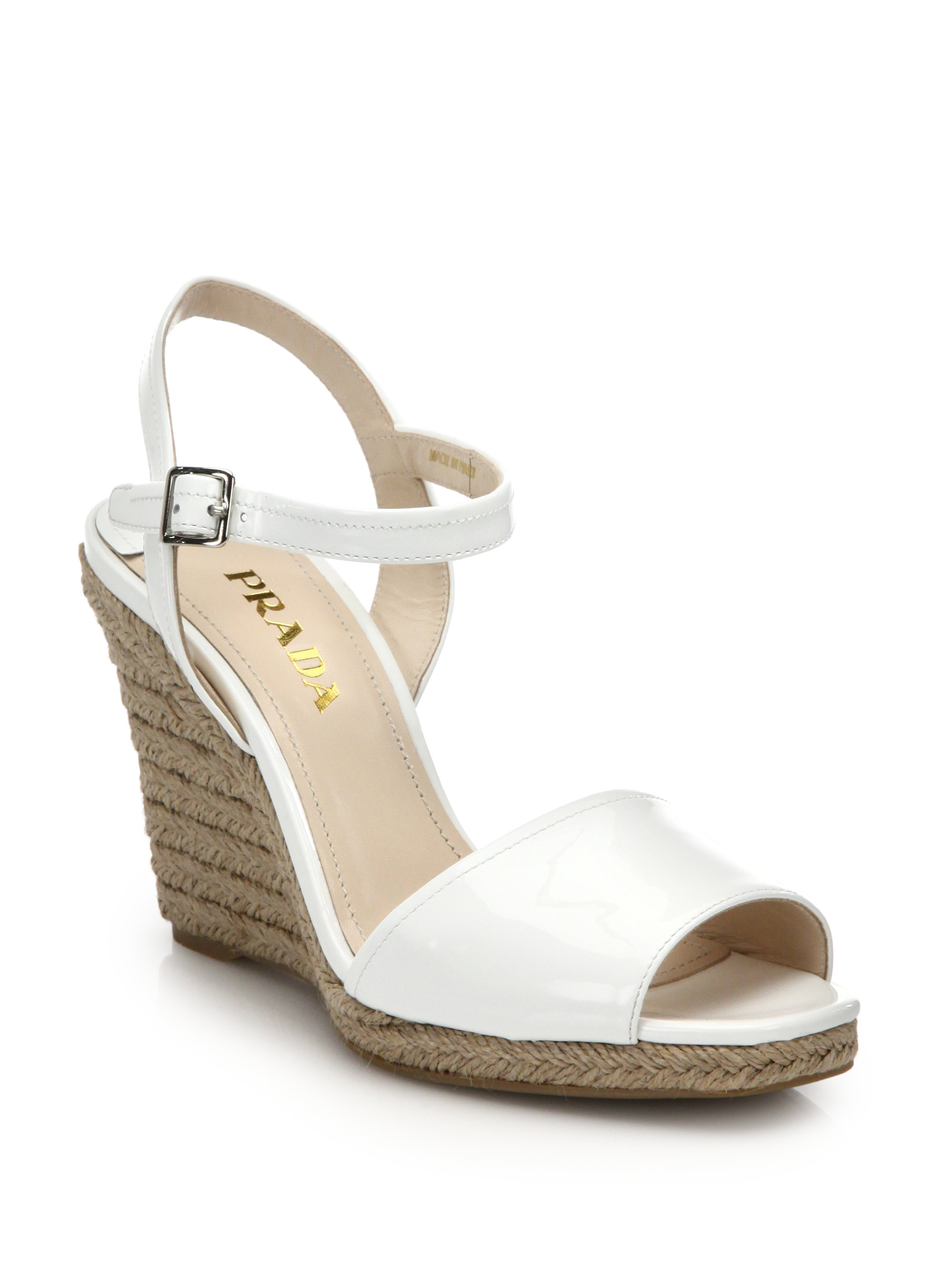 17461c74c77d Lyst - Prada Patent Leather Espadrille Wedge Sandals in White