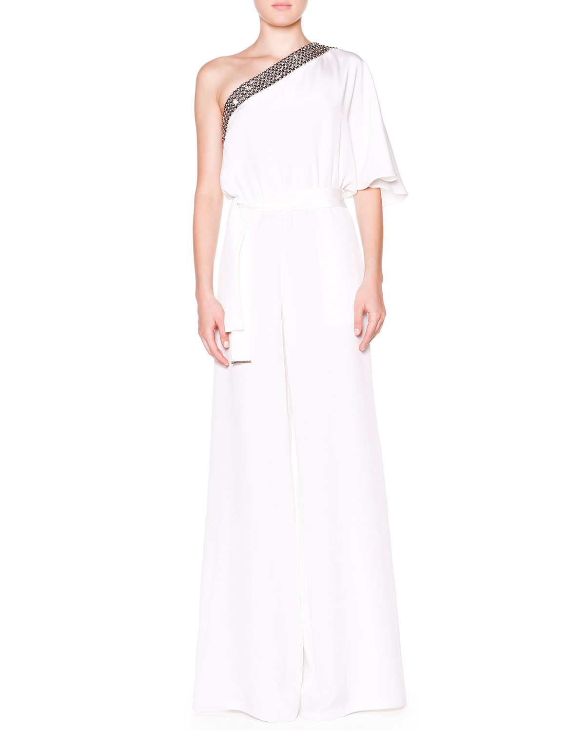 59cfa808ed40 Lyst - Emilio Pucci One-Shoulder Jumpsuit With Beaded Trim in White