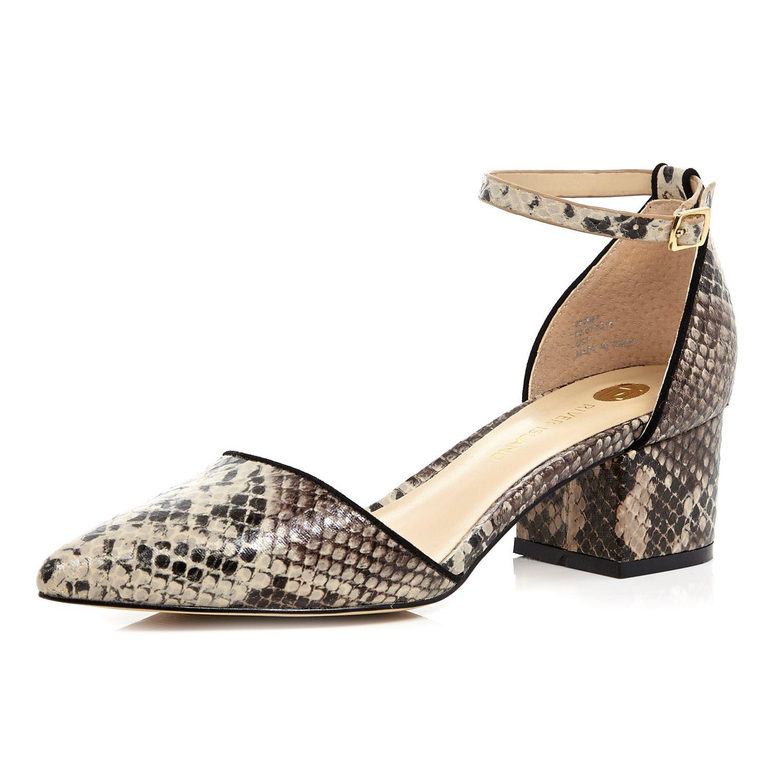 3b4a2b9f6 River Island Beige Snake Print Block Heel Shoes in Natural - Lyst