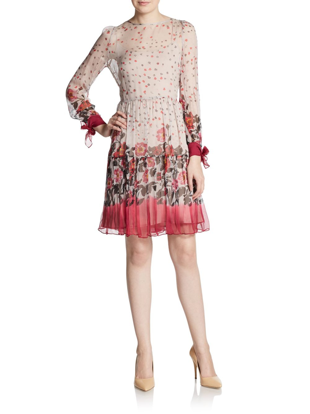 Floral-print chiffon dress Red Valentino Extremely Online Sast Online Top Quality For Sale New Styles Cheap Online mN7xWP3sf