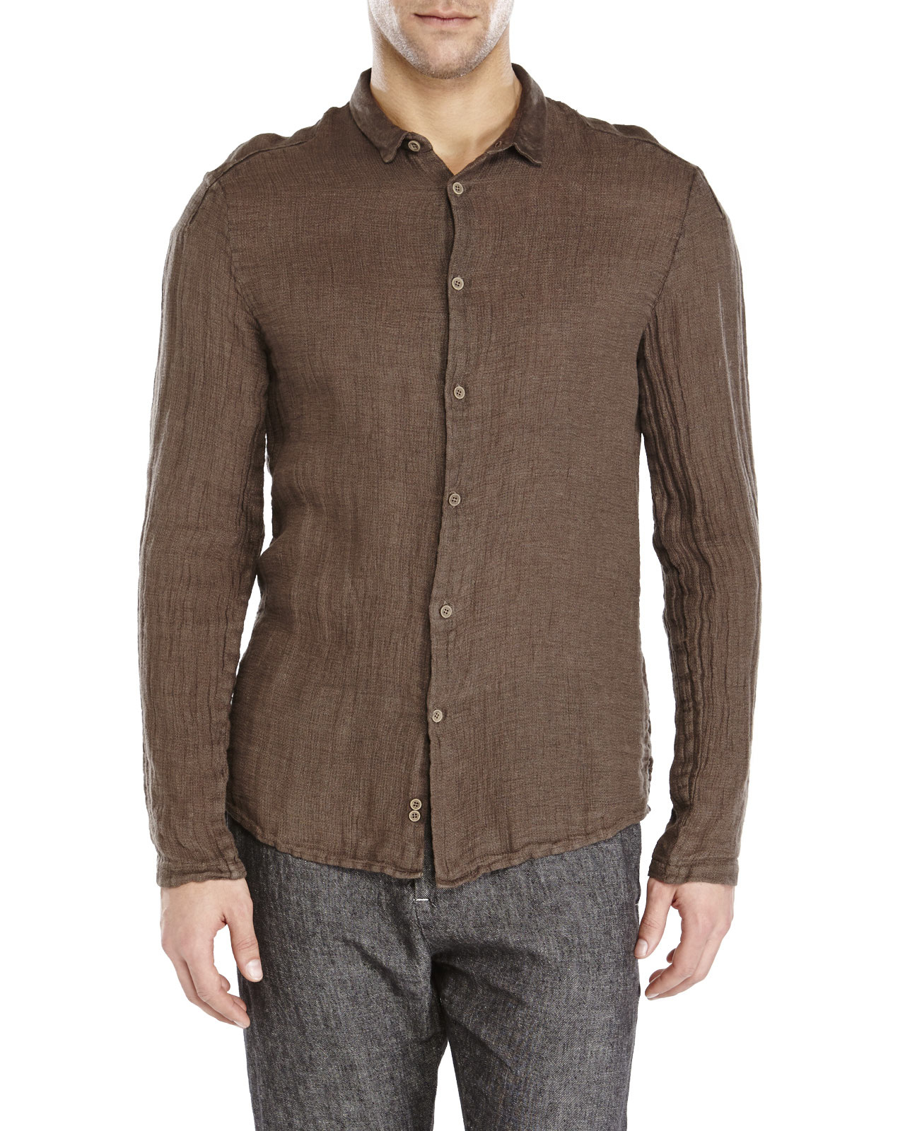 Transit uomo dark brown linen shirt in brown for men lyst for Black brown mens shirts