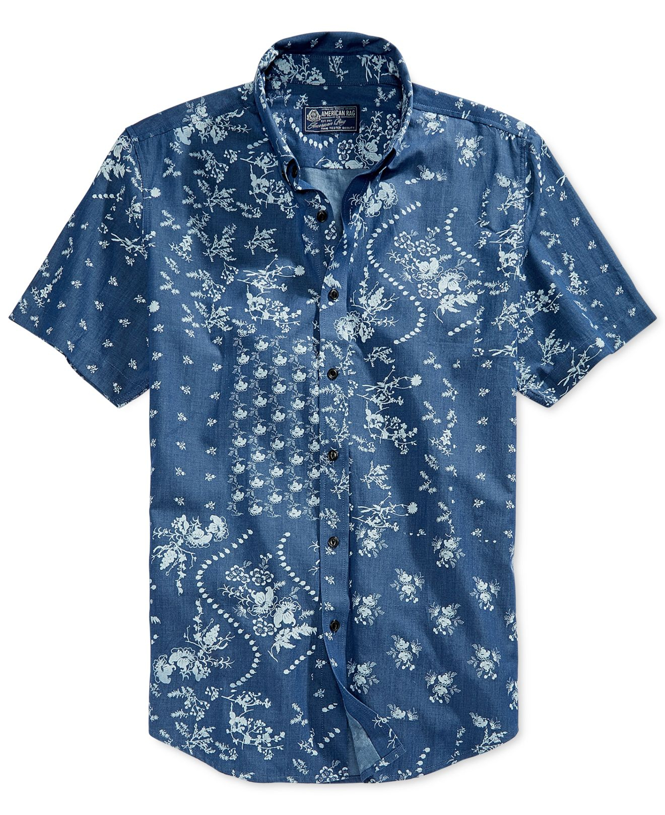 Ted Baker party shirt in dark blue floral. £ Ted Baker short sleeve shirt in navy with geo print. £ Tom Tailor Short Sleeve Shirt In All Over Print. £ Tom Tailor Short Sleeve Button Down Shirt In Leopard Print. £ Farah Oakton skinny smart shirt with paisley print in white.
