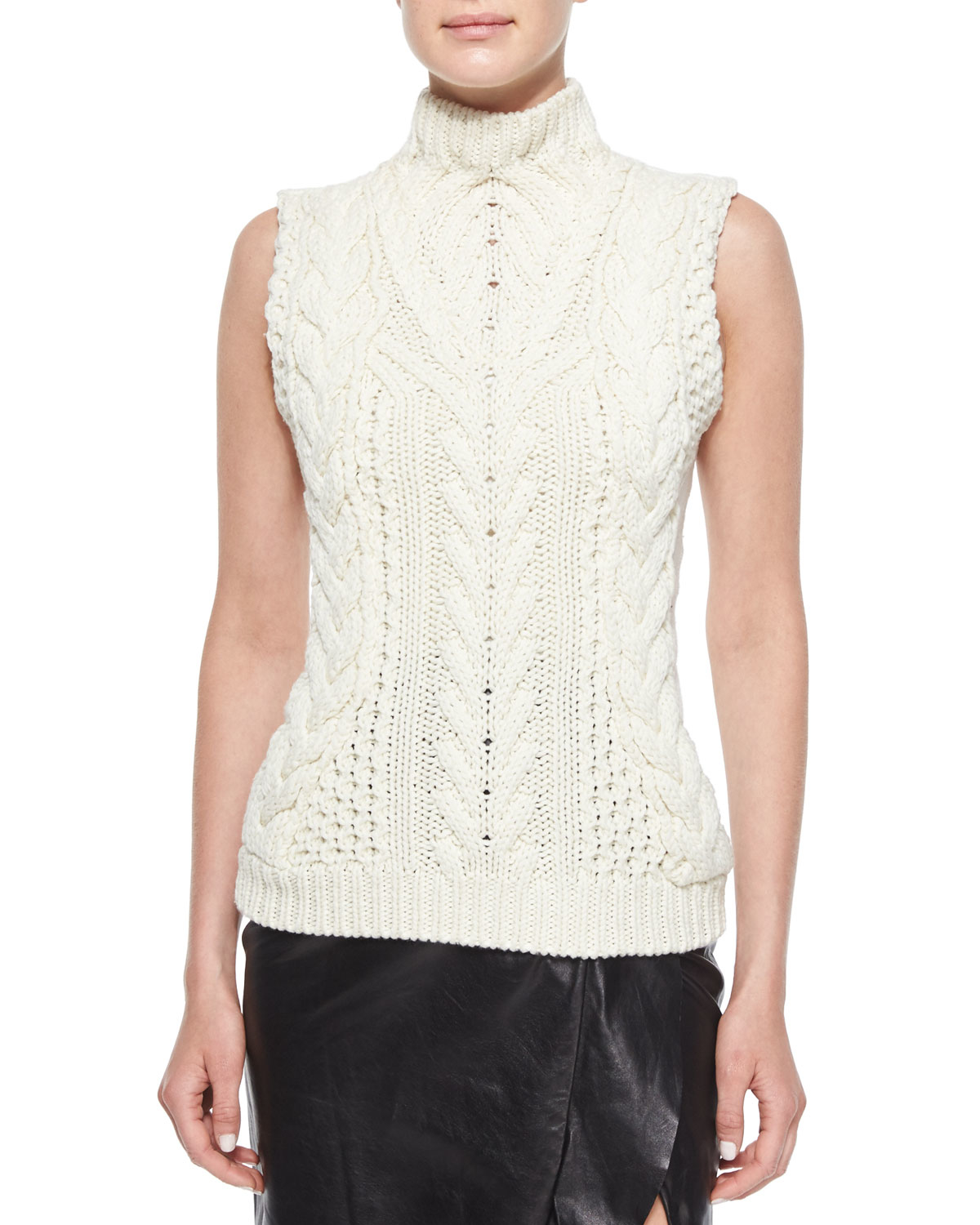 Knitting Pattern For Sleeveless Sweater : Altuzarra Sleeveless Cable-knit Sweater in Natural Lyst