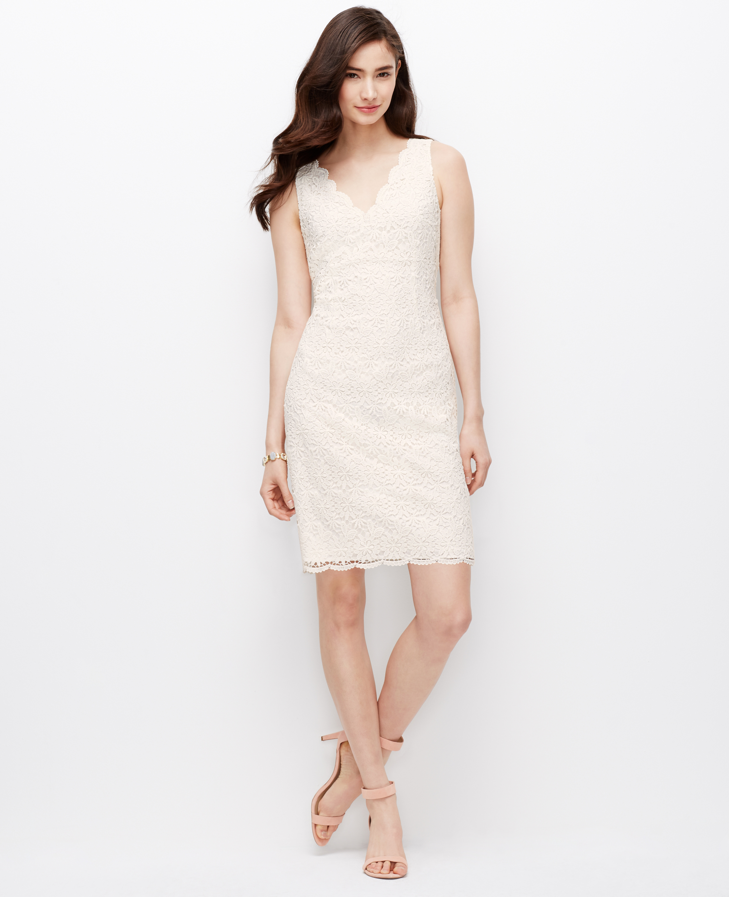 Lyst - Ann taylor Scalloped Lace Dress in White