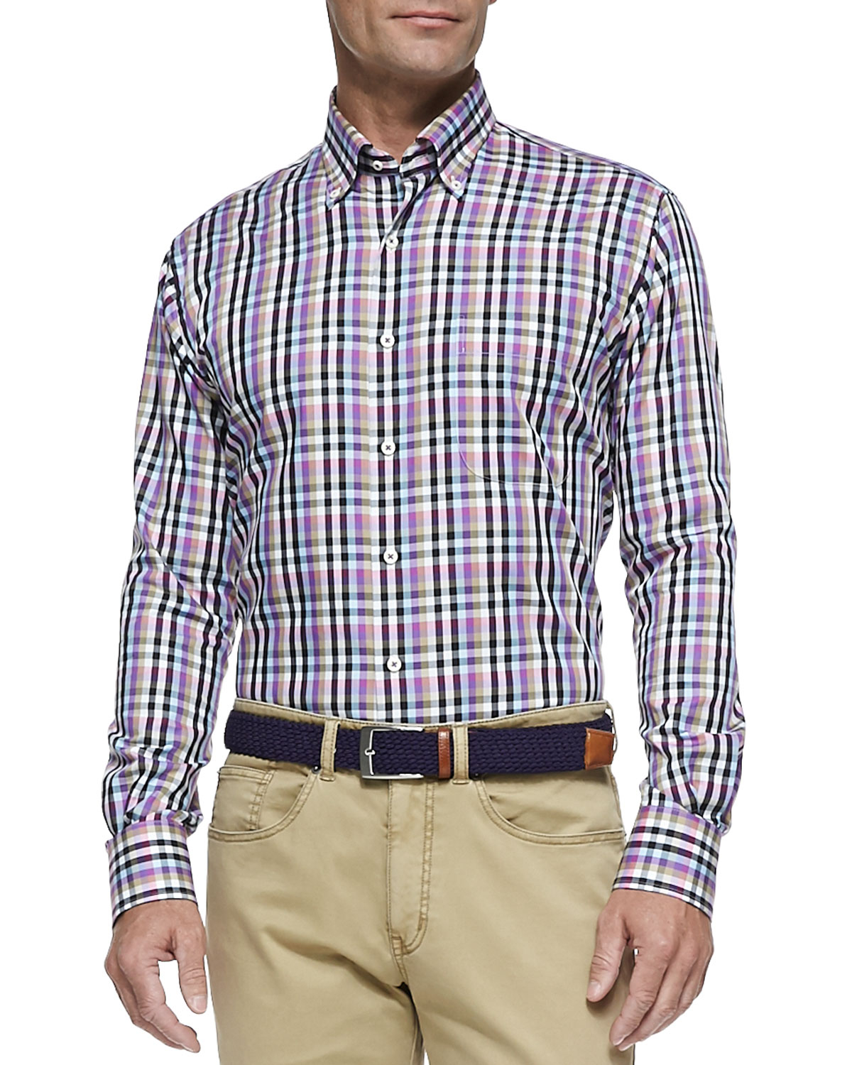 Peter Millar Multicolor Check Button Down Sport Shirt