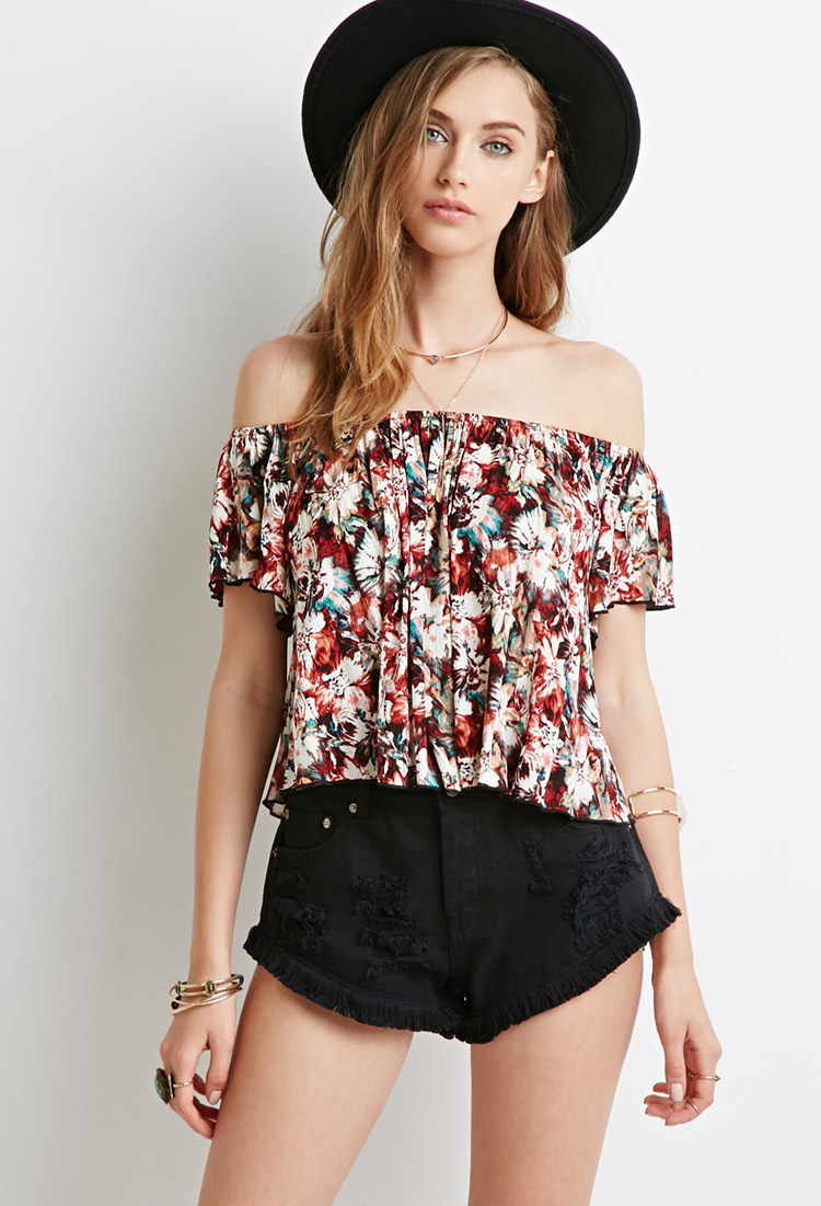 c27cfd661f5a3 Lyst - Forever 21 Floral Tie-dye Off-the-shoulder Top in Brown