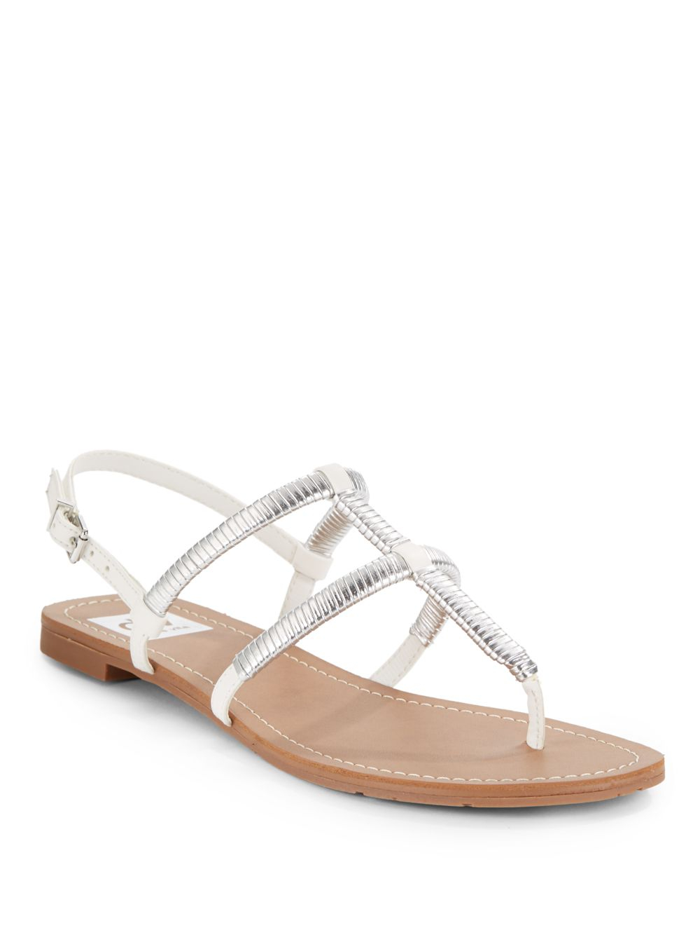 Dv By Dolce Vita Gava Silver Metallic-Trimmed Flat Sandals ...