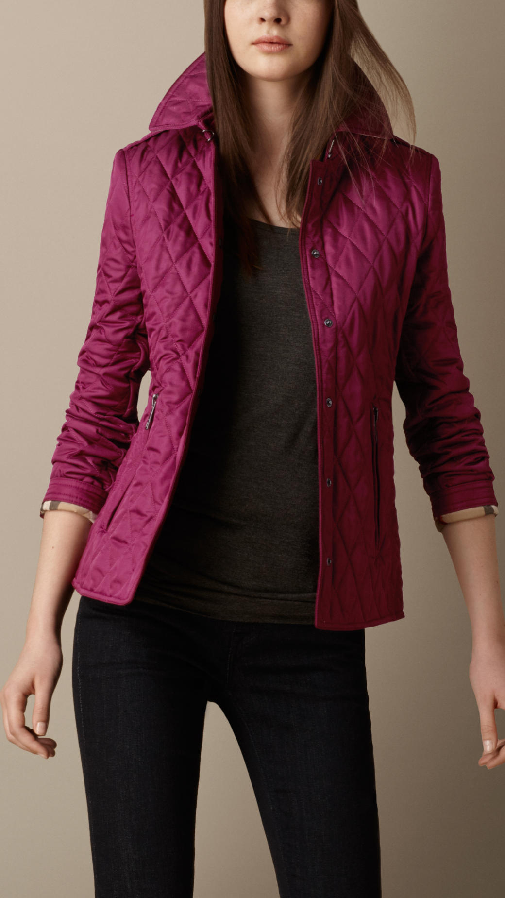 Lyst Burberry Heritage Quilted Jacket In Purple