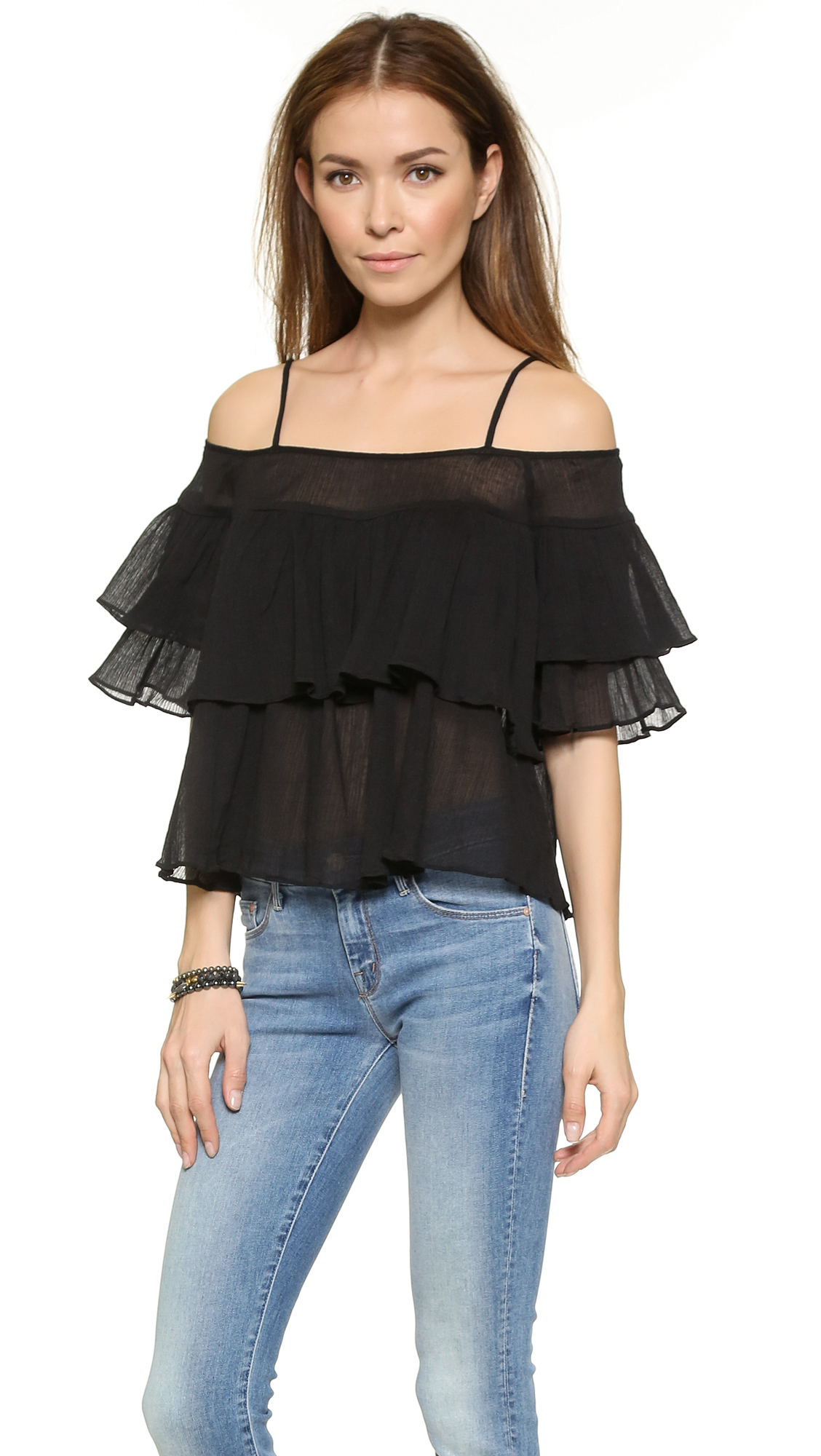 241b46628ad163 Lyst - JOA Tiered Off Shoulder Top - Black in Black