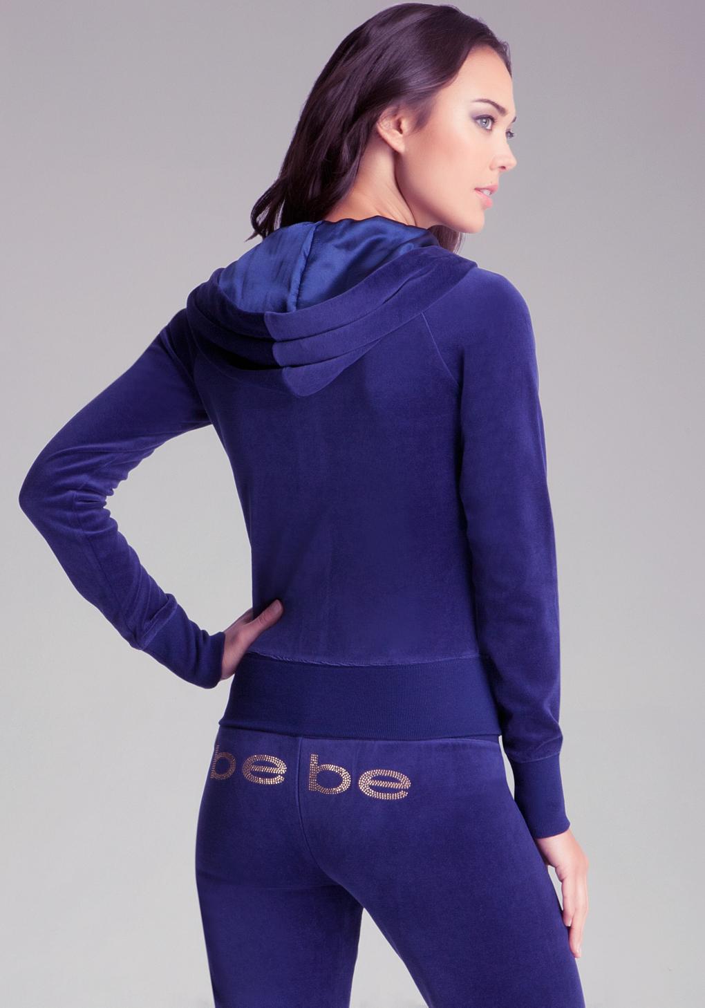 3af5368f92e Bebe Velour Hoodie in Blue - Lyst