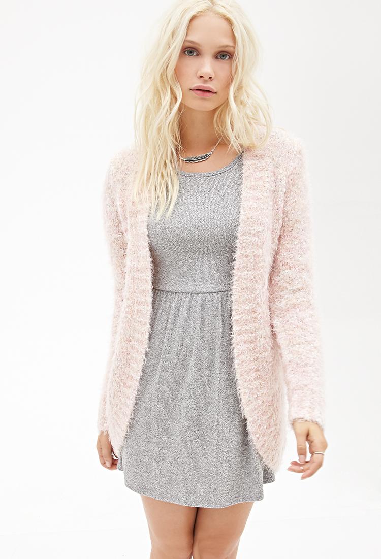 Forever 21 Fuzzy Eyelash-knit Cardigan in Pink | Lyst