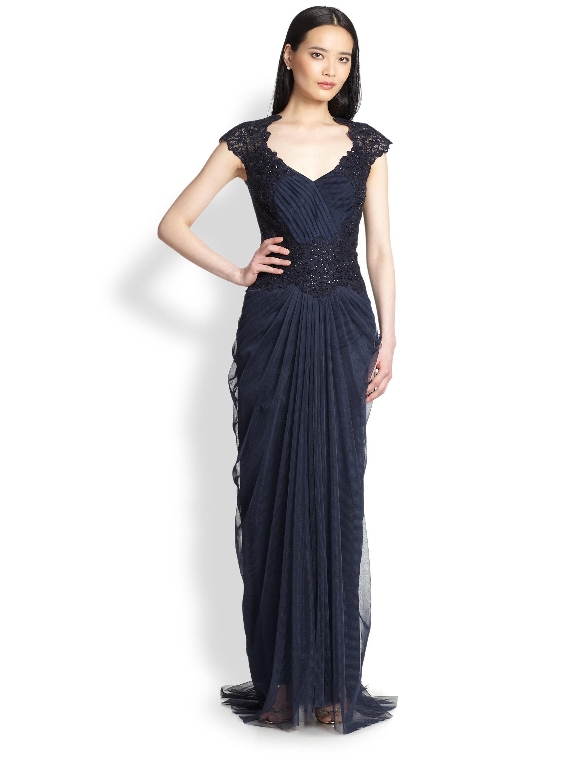 Tadashi Shoji Beaded V Neck Gown In Blue Lyst